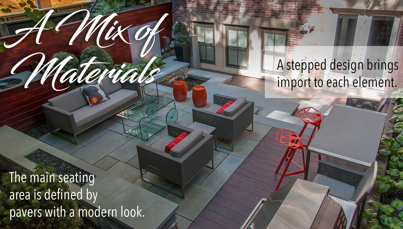 Urban residential courtyard with a mix of materials by a Blade of Grass