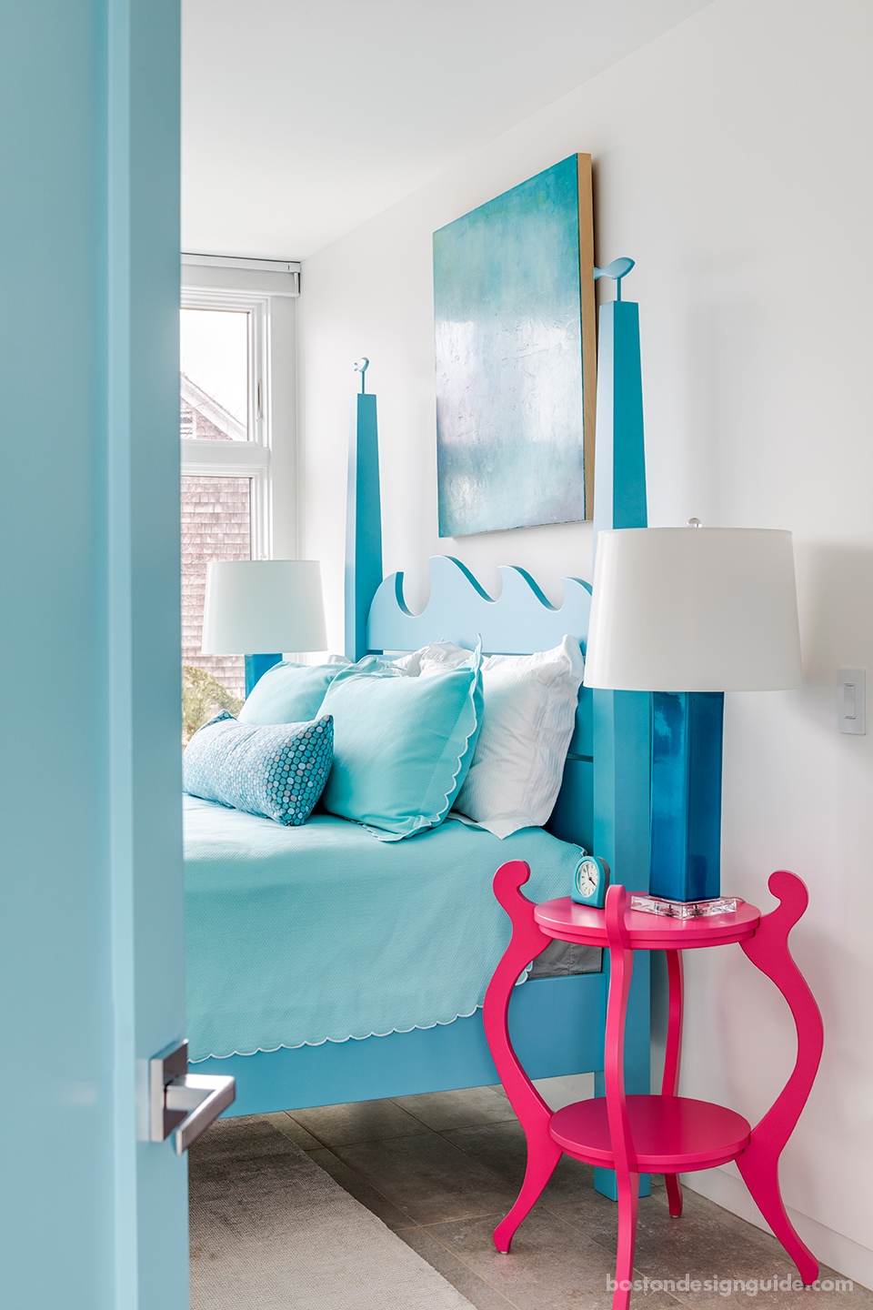 Colorful beach house bedroom
