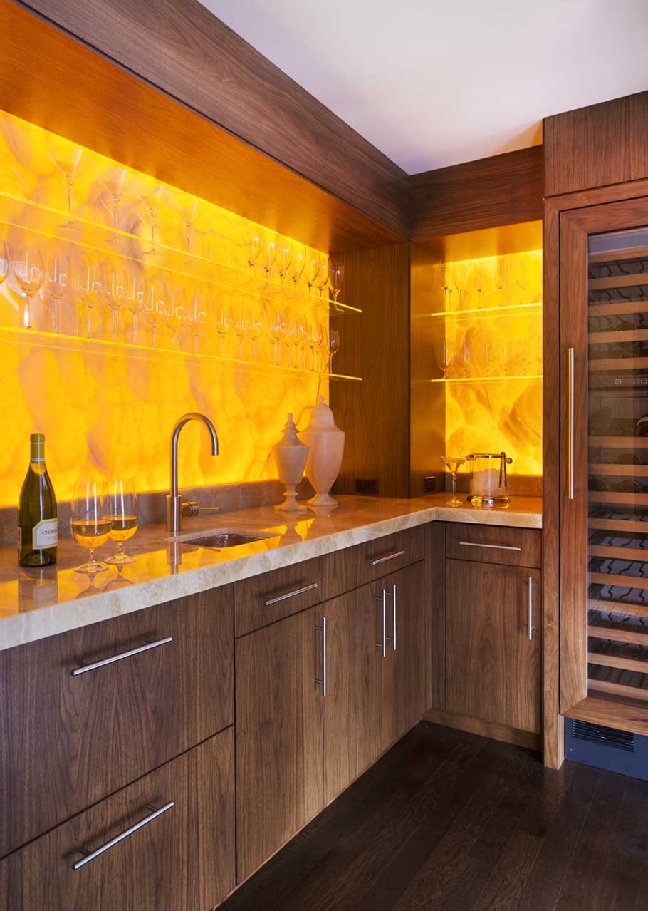 High-end custom crafted wet bar by Adams & Beasley Associates