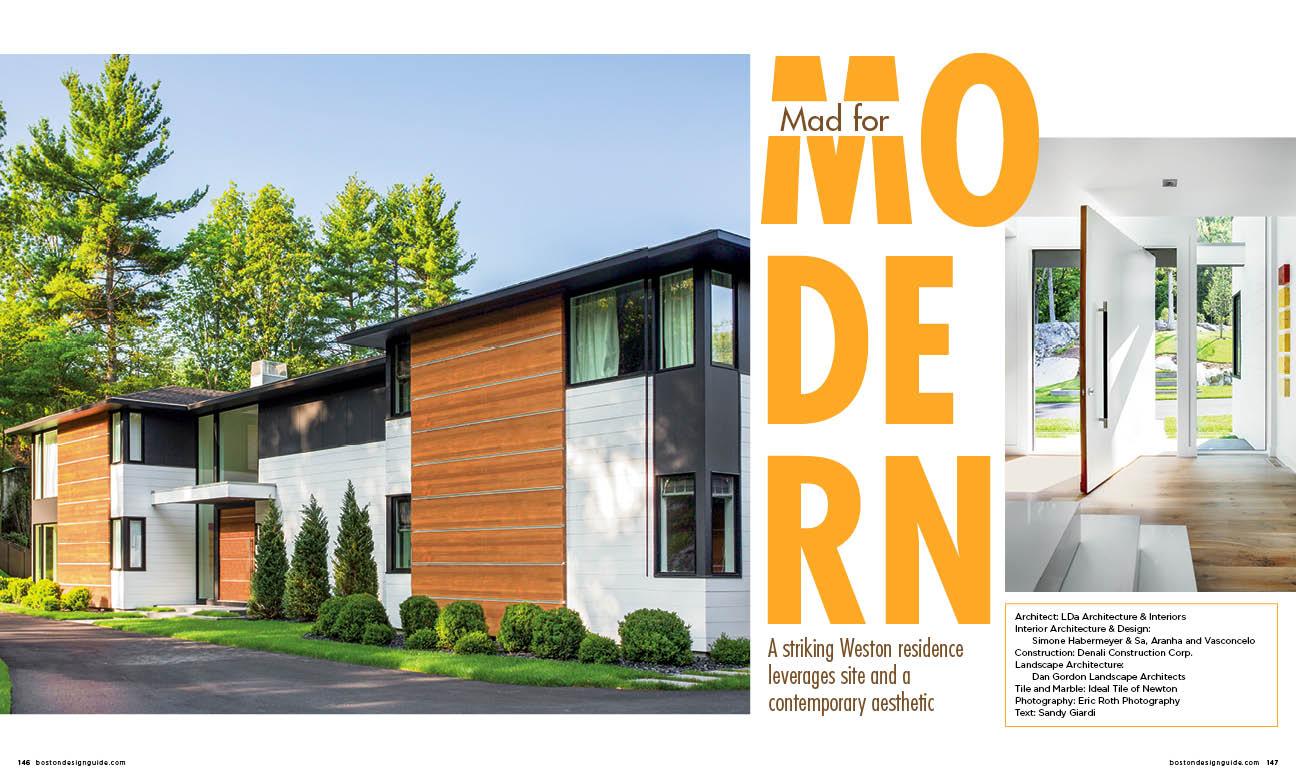Modern home residence in Weston, MA