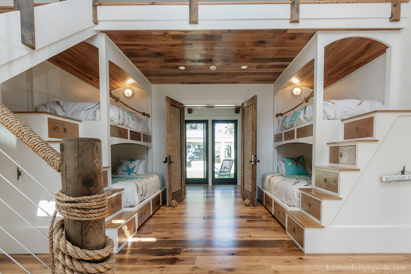 Cape Cod bunk room with rope accents by BPC Architecture