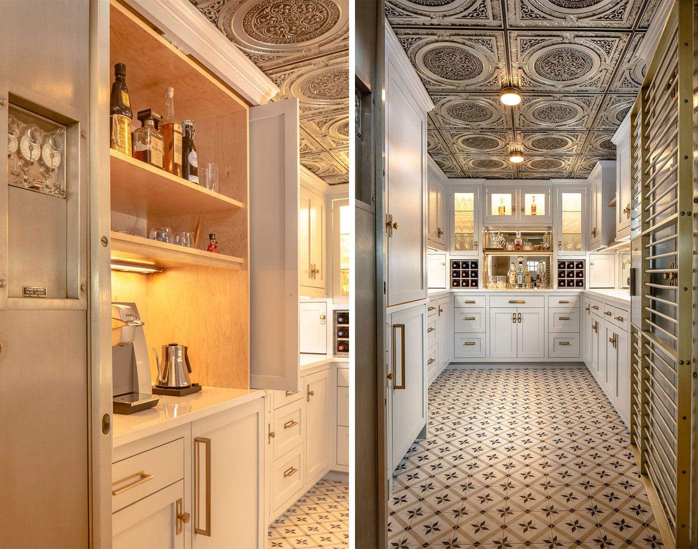 2 images of a converted bank vault turned into a butlers pantry