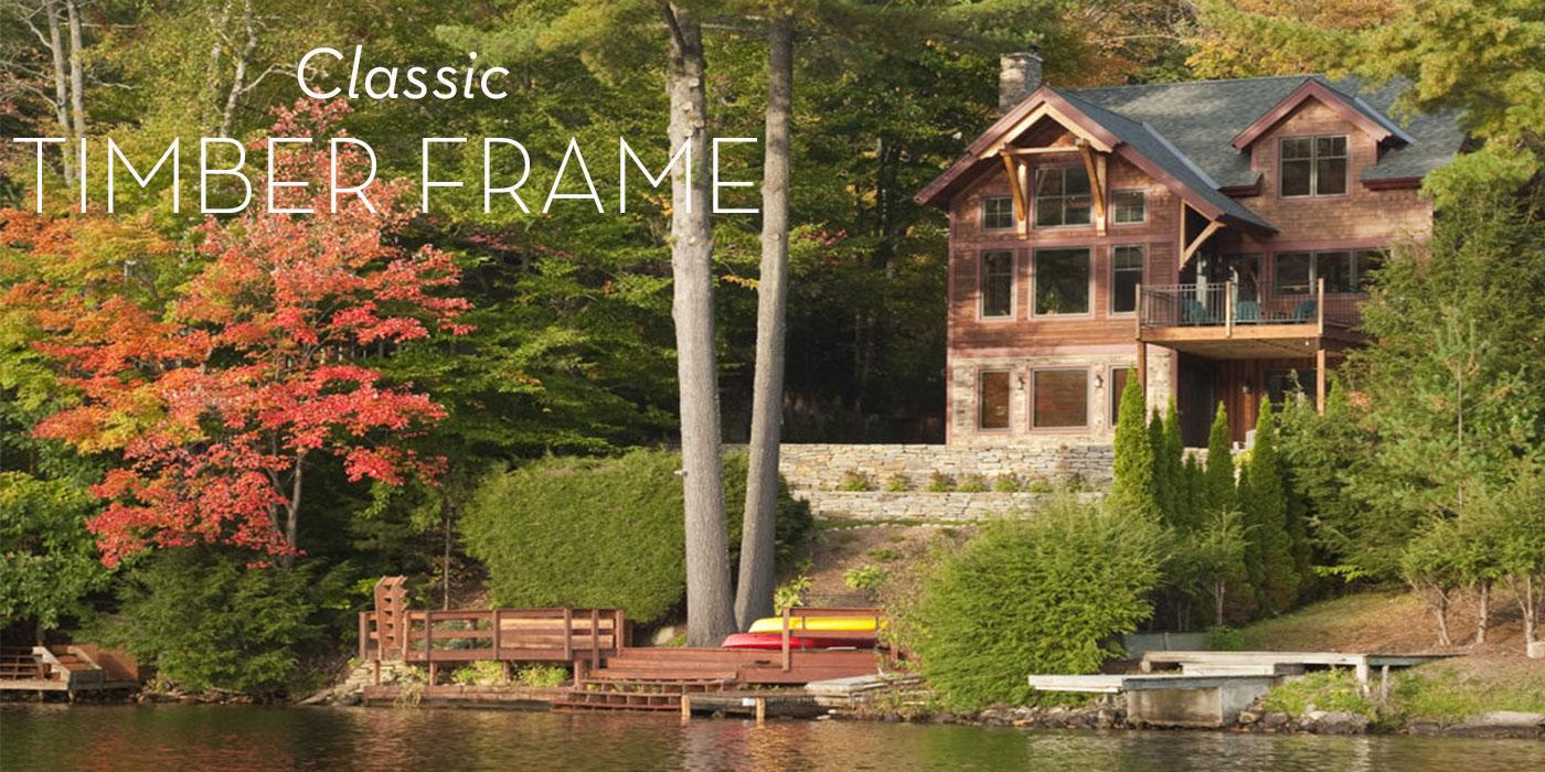 Timber frame lake house designed by Bensonwood