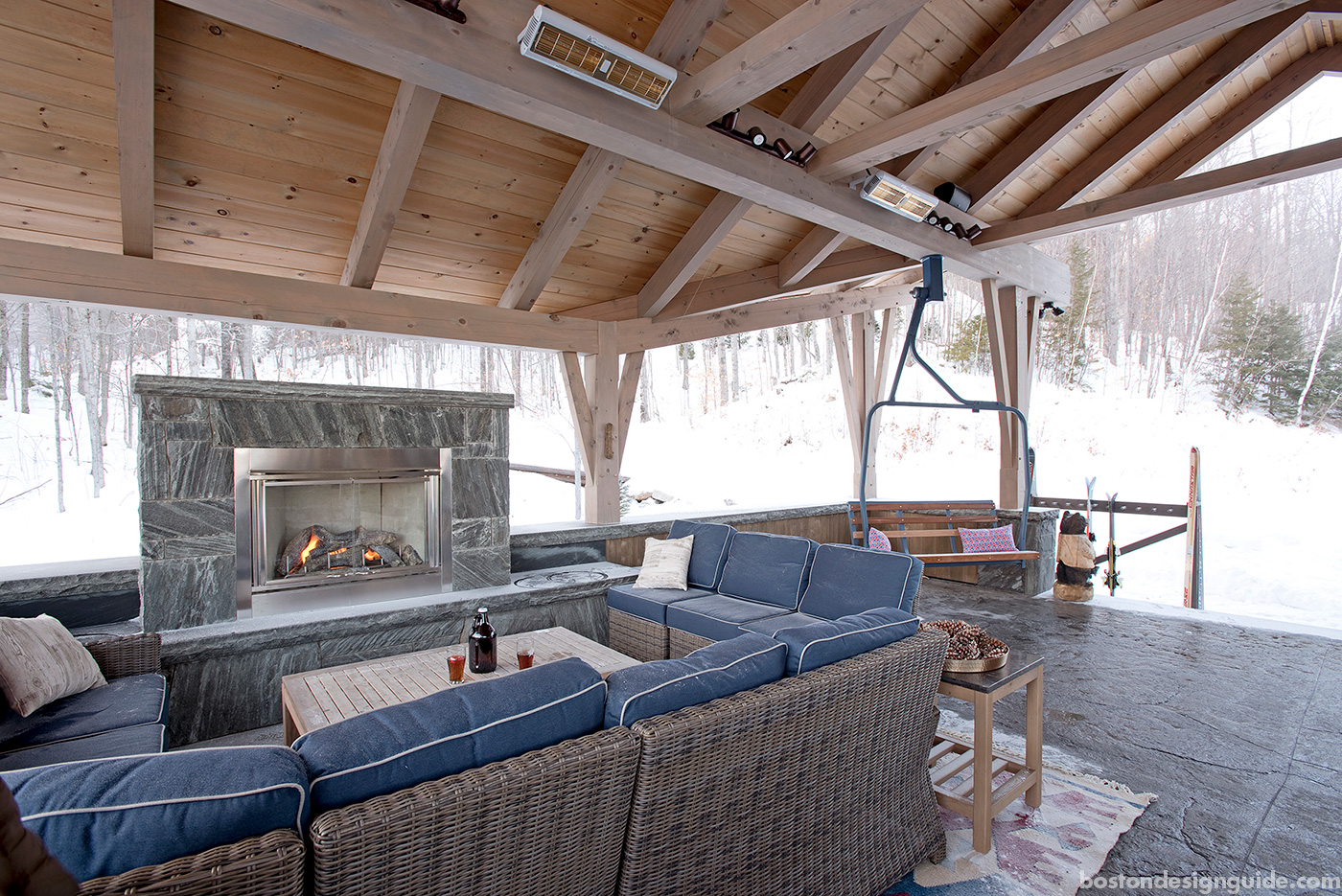 Ski-in, ski-off outdoor deck for a Maine ski house designed and built by Bensonwood