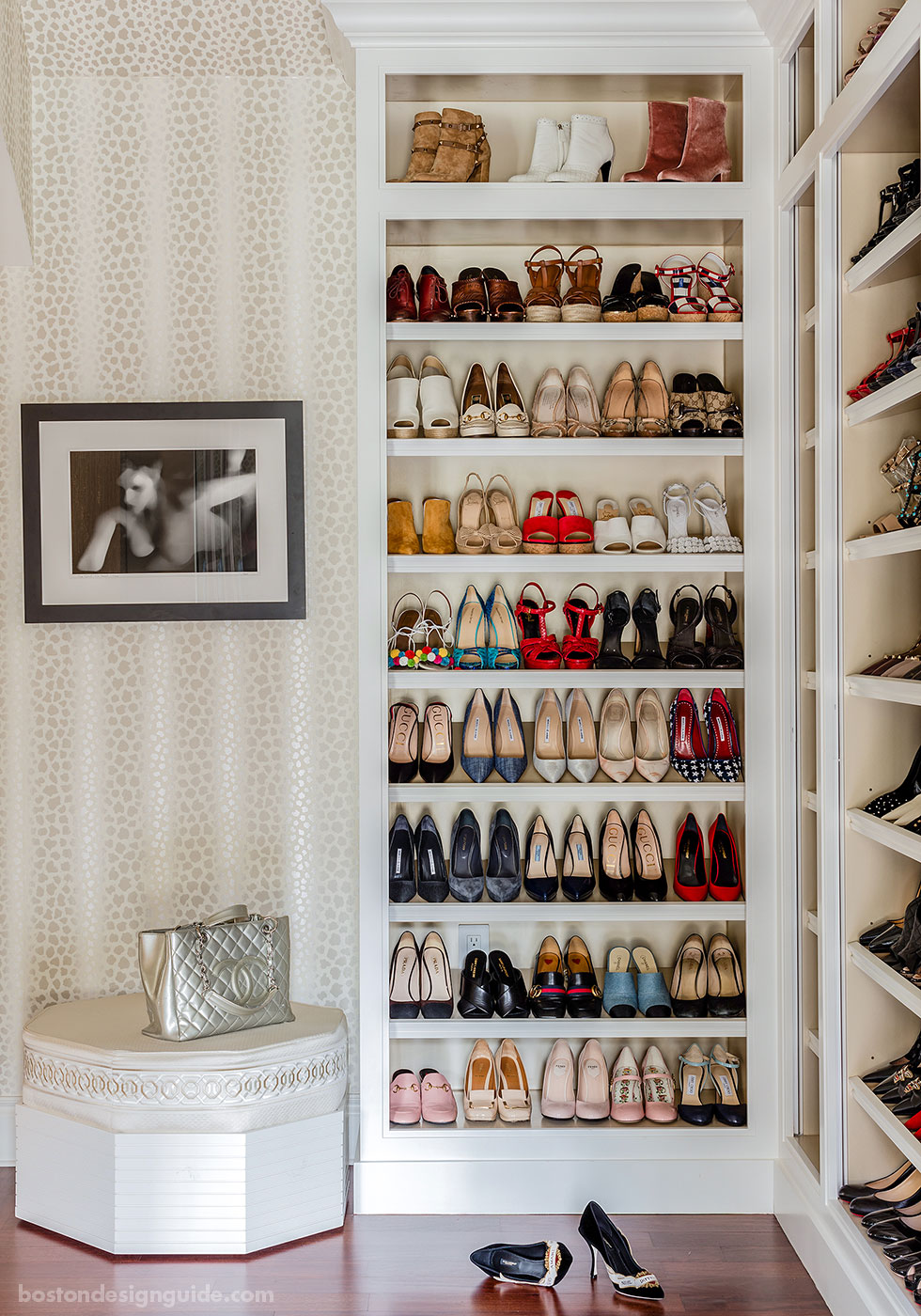 Luxe custom closet design for shoes by Betsy Bassett Interiors