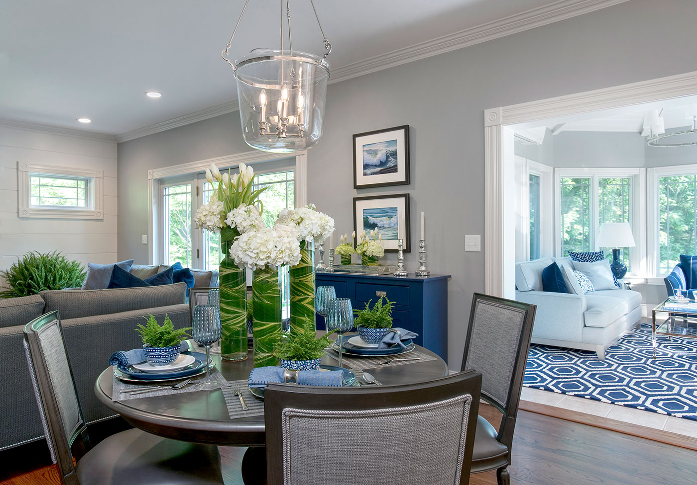 Elegant dining room with classic blue