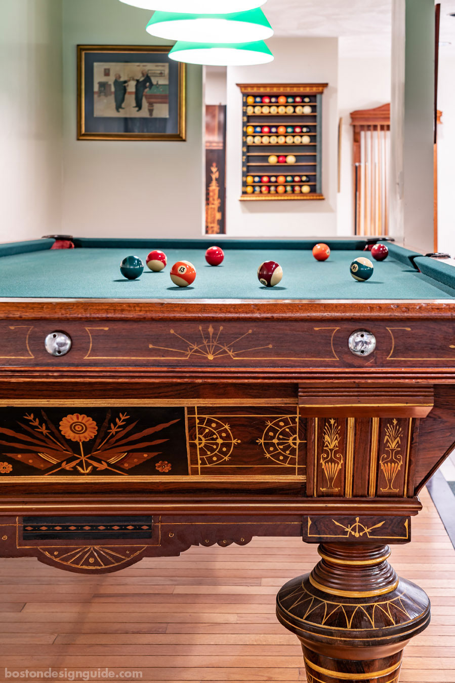 Restored tables at Boston Billiard Emporium