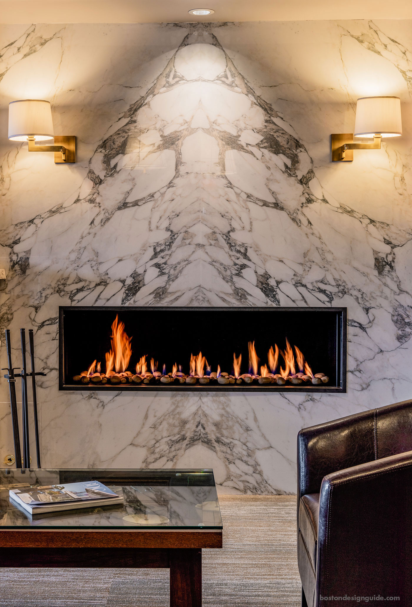 Contemporary fireplace at Boston Fine Home Details, Zero Clearance Direct Vent Fireplace