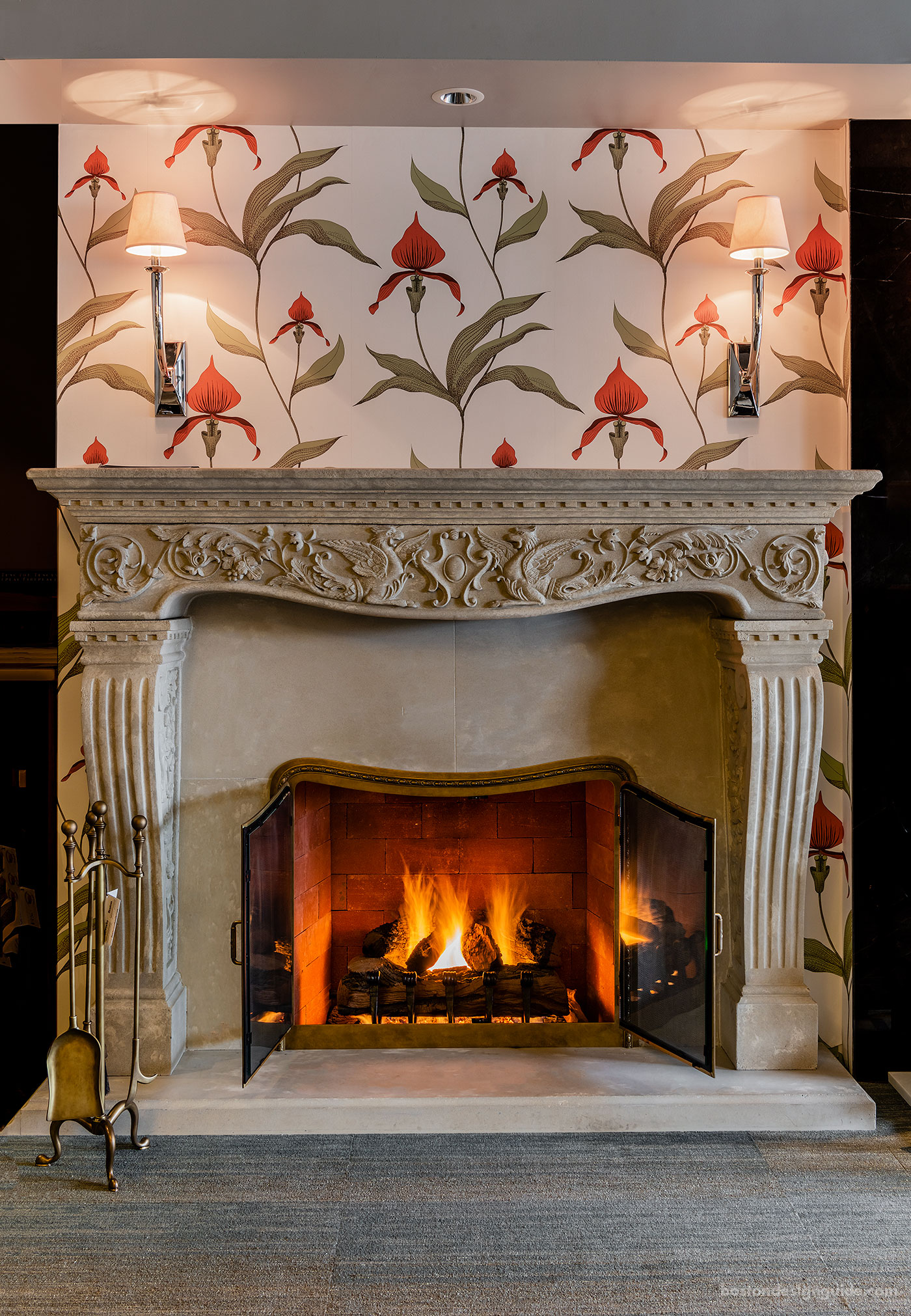 Traditional gas log fireplace by Boston Fine Home Details