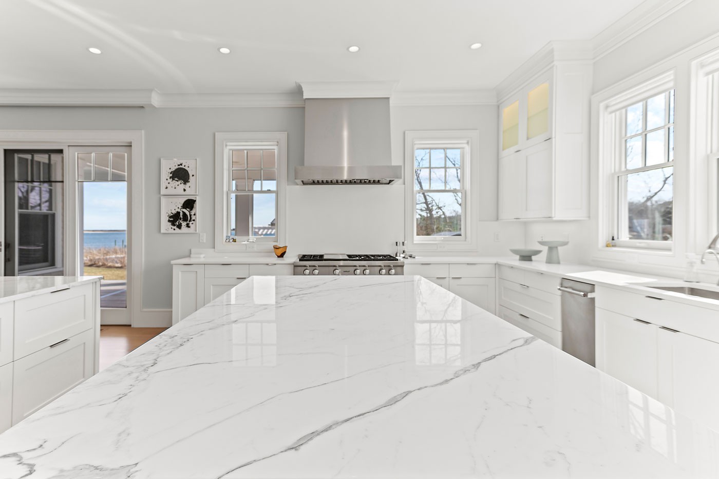 polished white island counter top