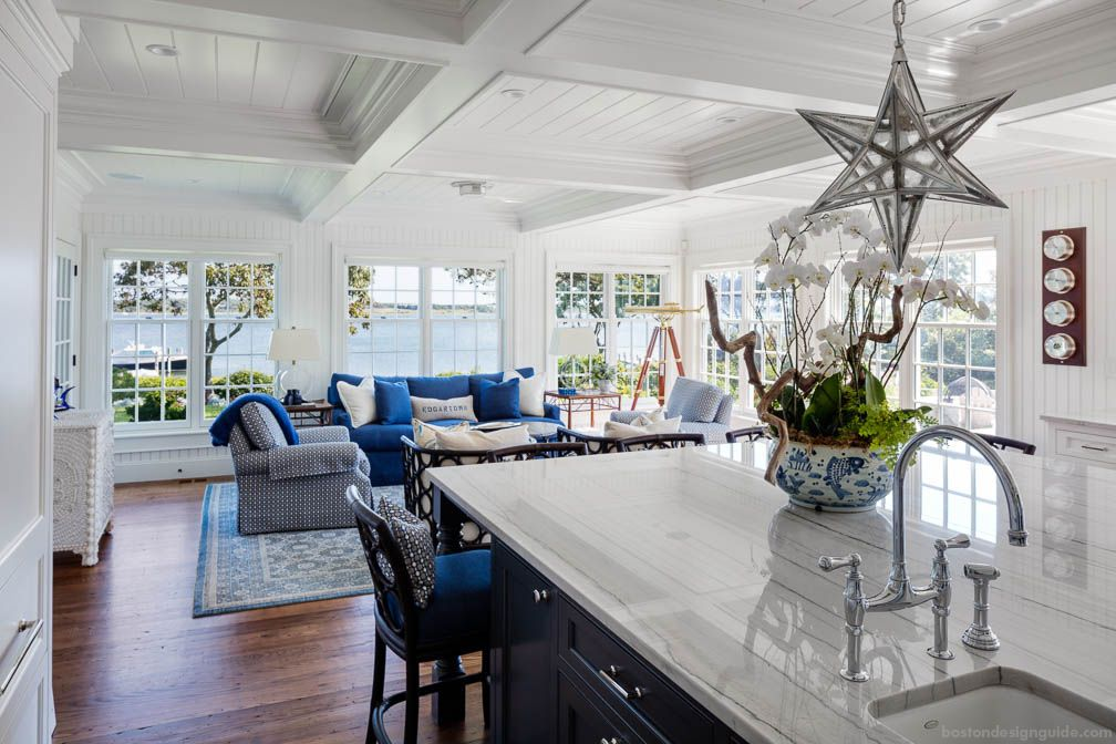 Coastal kitchen and waterside great room designed by Patrick Ahearn Architect, built by Colonial Reproductions, Inc.
