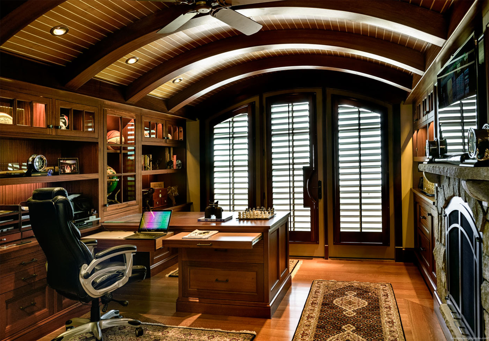 custom home office construction in New England homes
