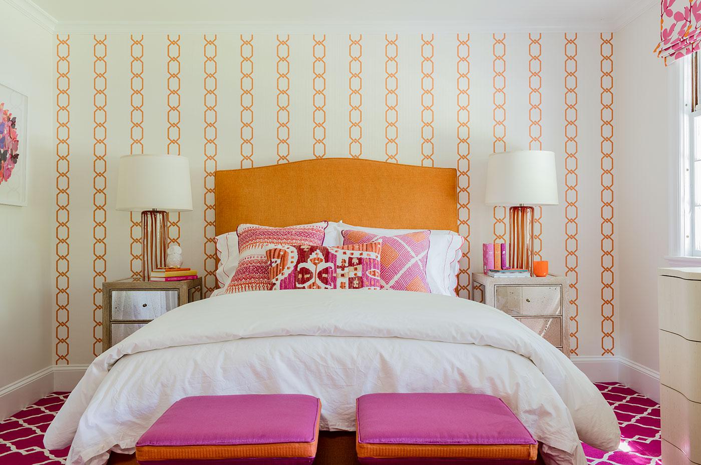 Colorful bedroom by high-end Boston interior designer Carter & Company