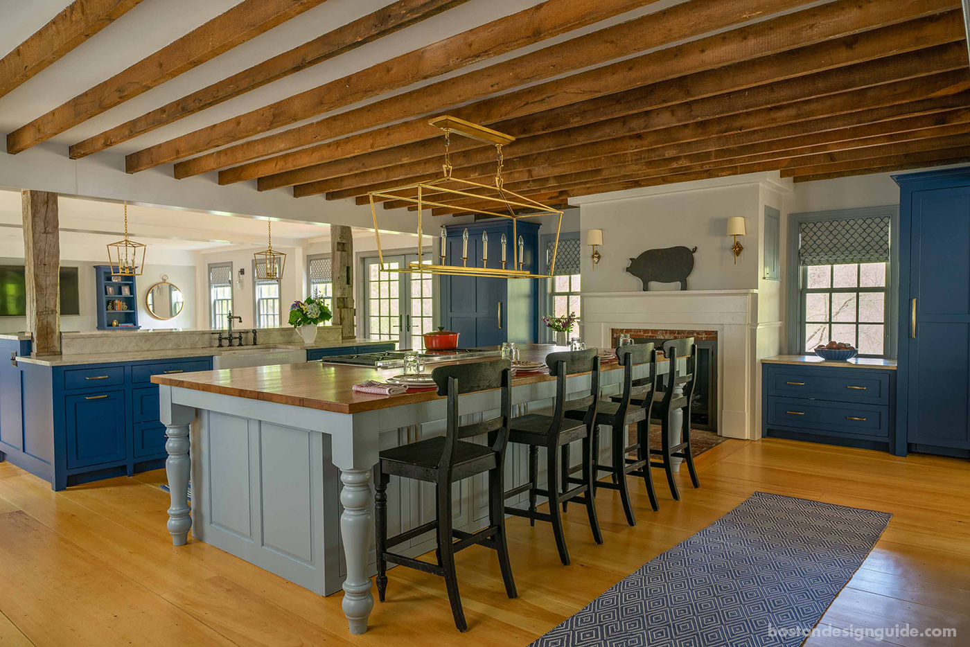 Farmhouse-style kitchen for a historic renovation by Cummings Architects