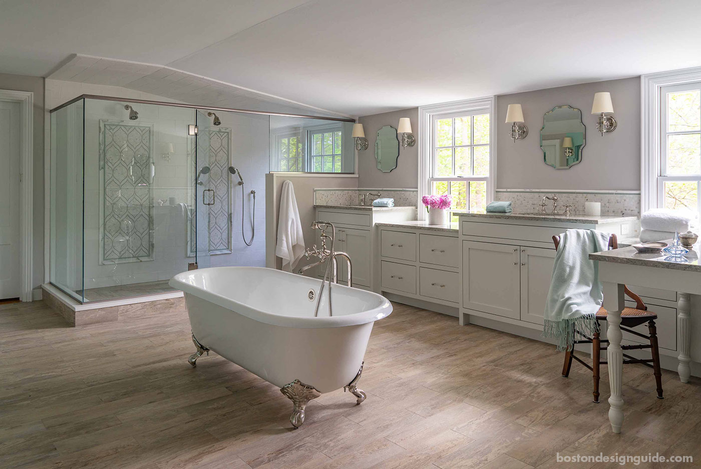 Master bathroom for a high-end Boston area historic renovation by Cummings Architects