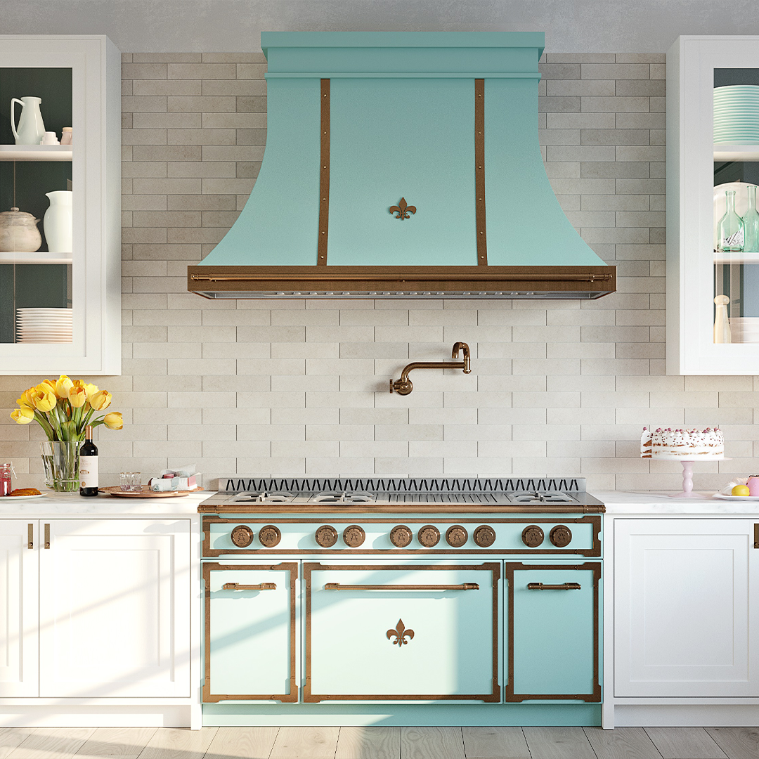L'Atelier teal oven and hood