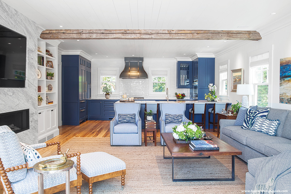 Open kitchen in blue