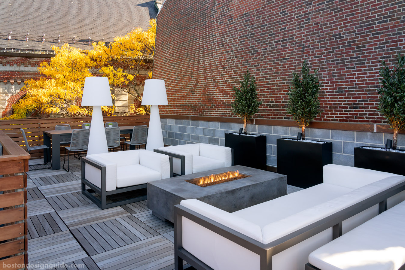 Upscale Boston row house roof deck built by Columbia Contracting Corp.