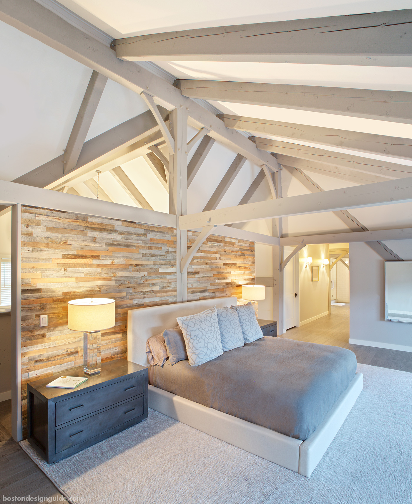 Bedroom for a custom Maine home renovation by Slocum Hall Design Group