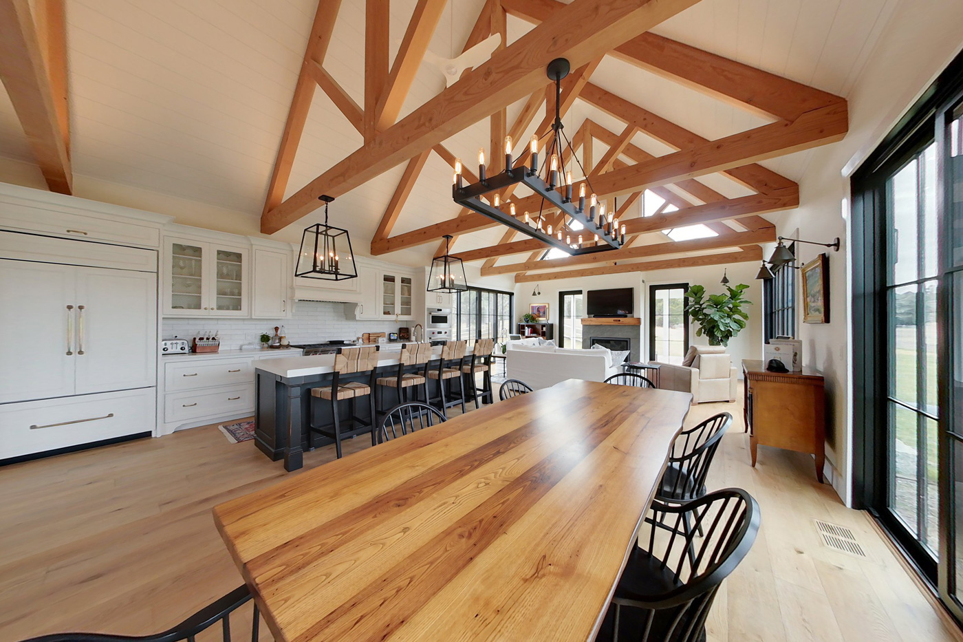 kitchen with cathedral ceiling and wood beams