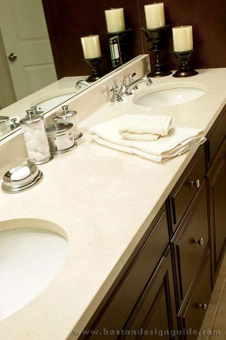 Counteredge for Crema marfil bathroom countertop