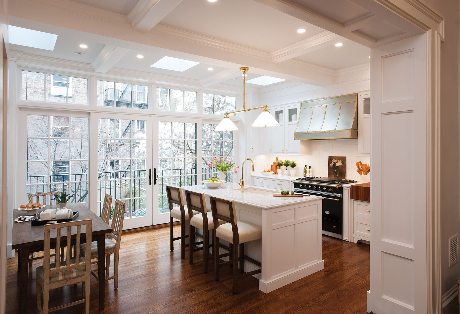 High-end custom NYC kitchen with inset Crown Point Cabinetry