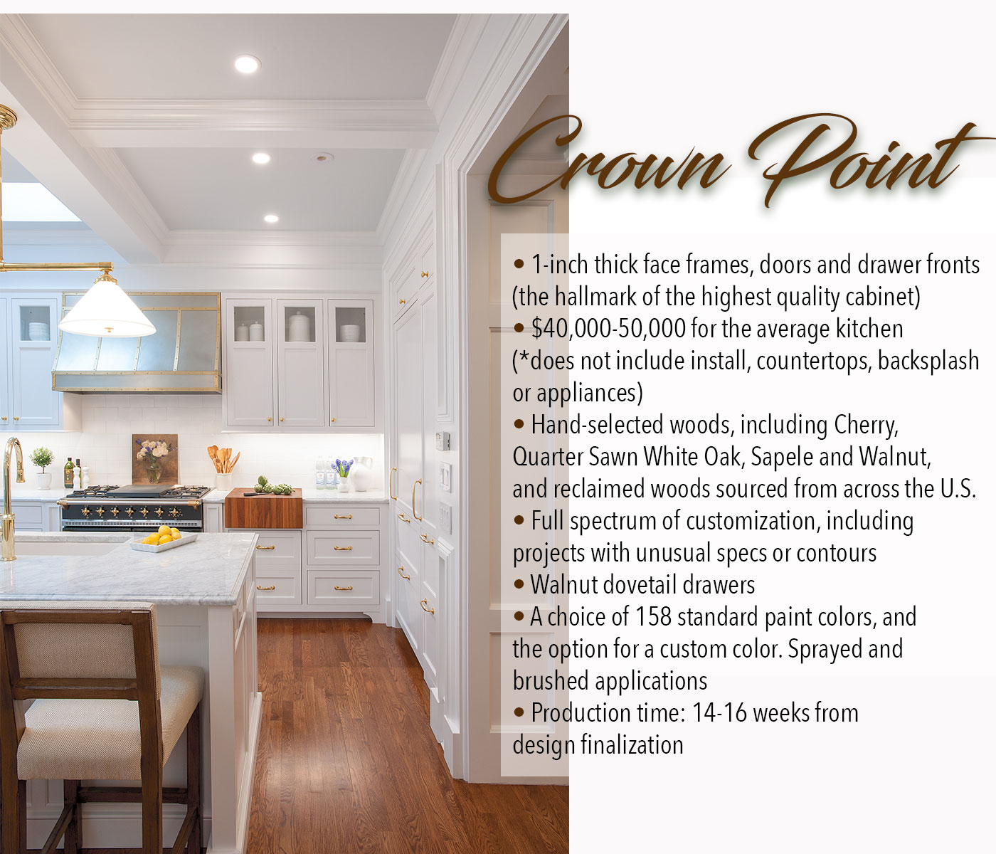 The quality and details of Crown Point Cabinetry
