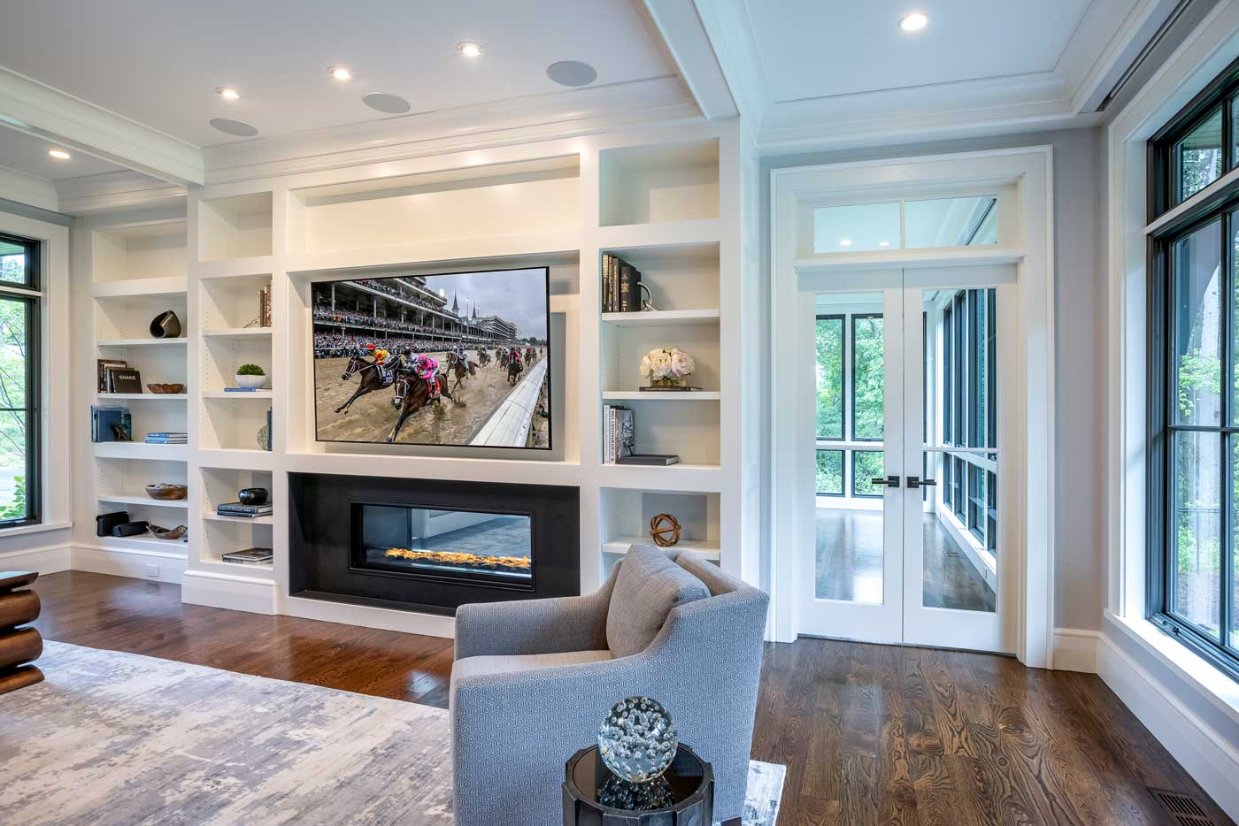 family room with television playing