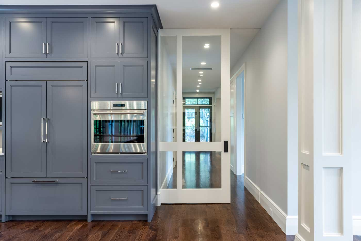 kitchen cabinets and sliding door