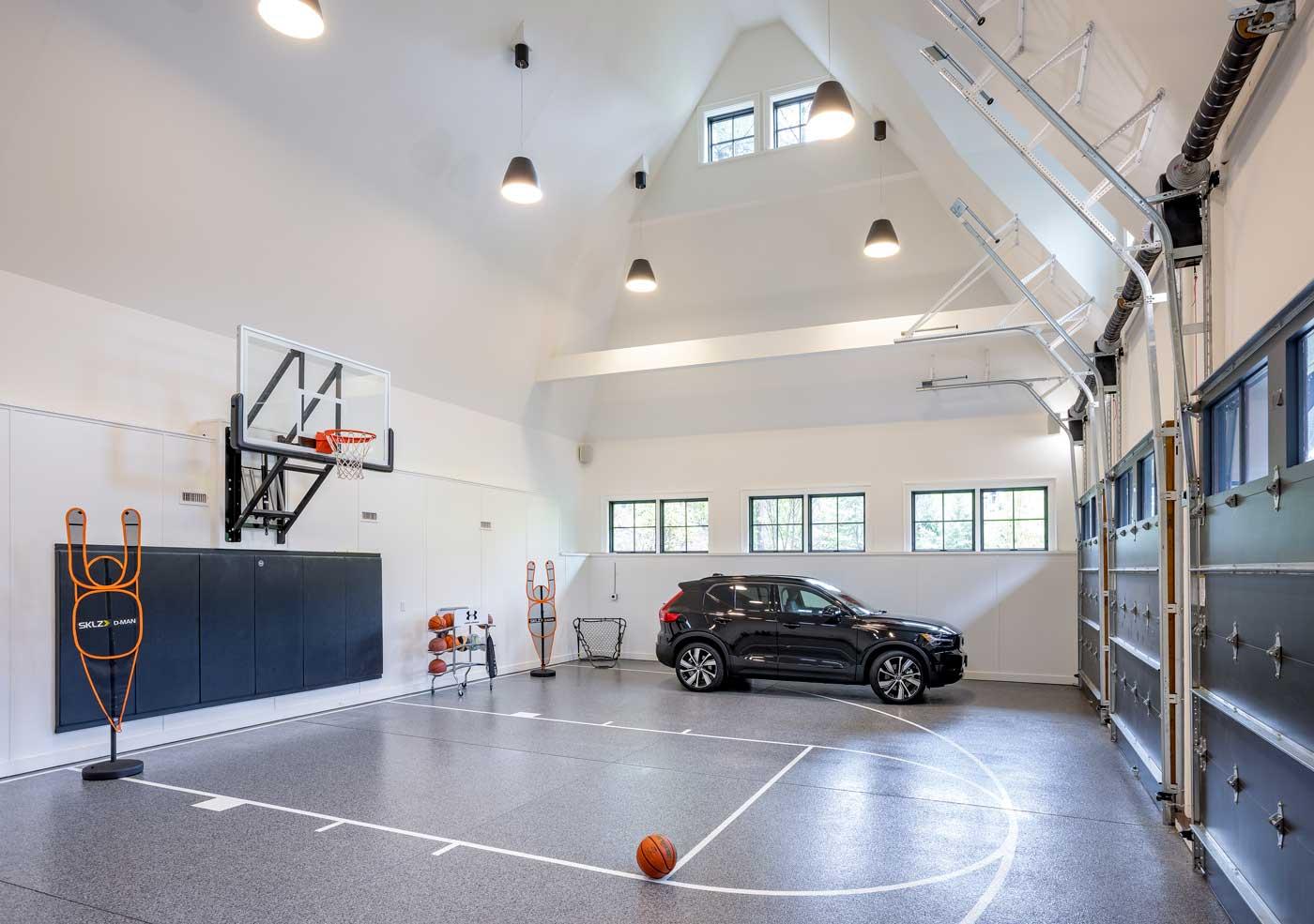 indoor basketball court and garage