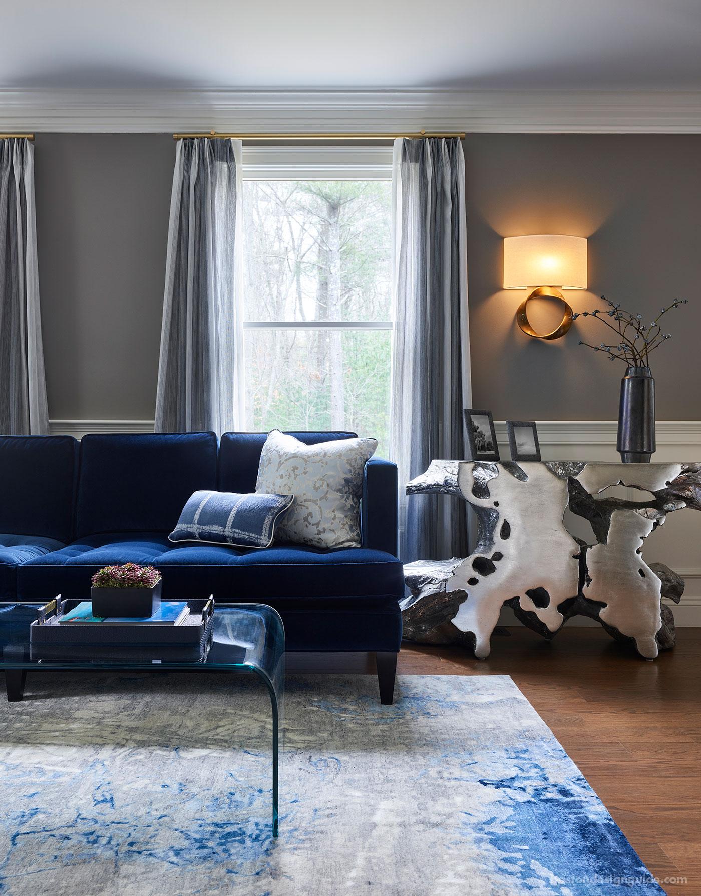 Living room interior design vignette by Interiology Design Co.