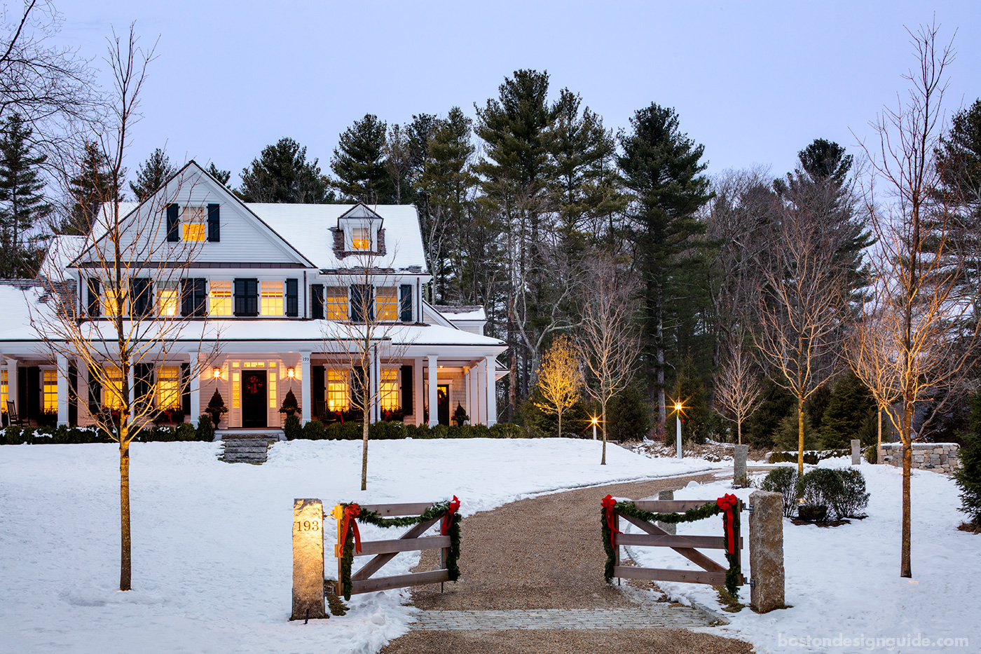 High-end traditional New England residence dressed for the holidays