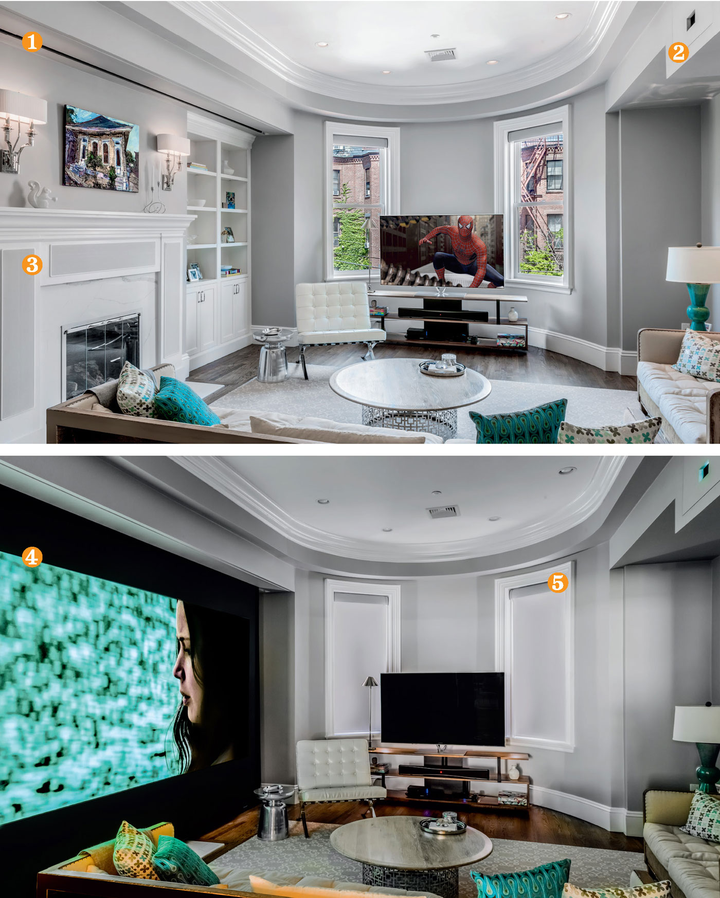 Living Room Or Home Theater Both Boston Design Guide