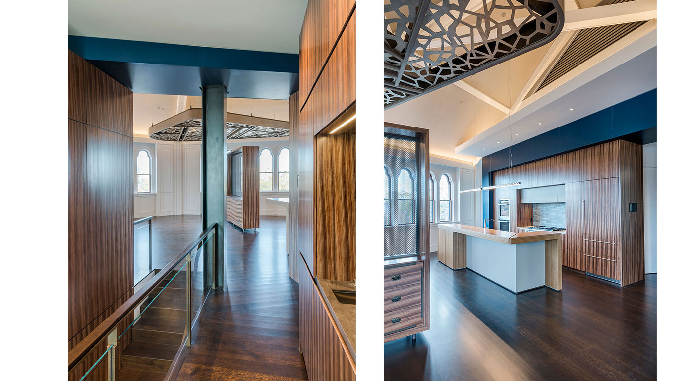 Room partition for an urban penthouse renovation by Kistler & Knapp Builders, Inc.