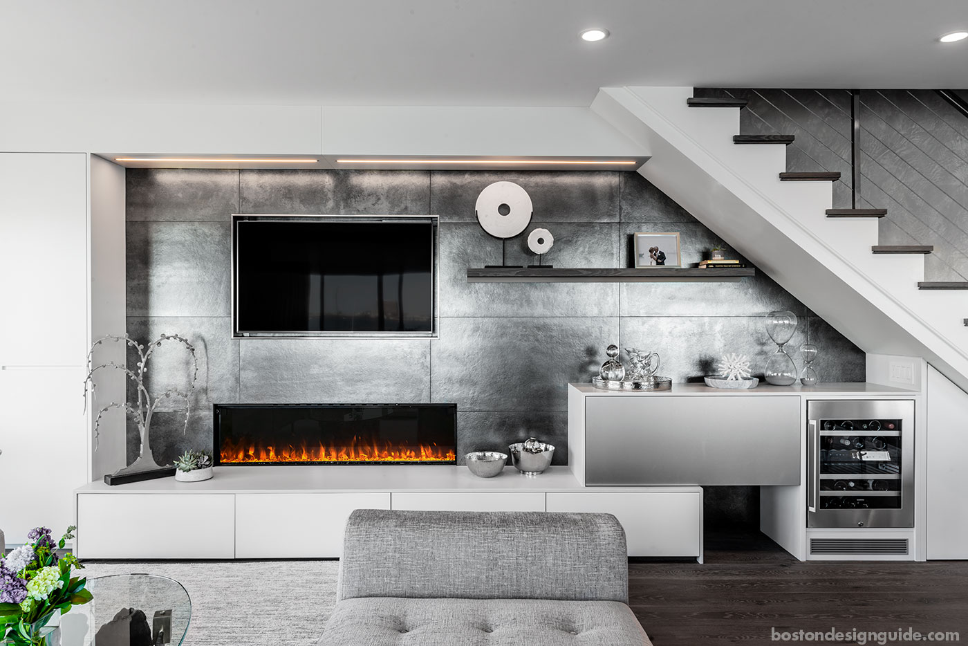 Fireplace feature wall for a Boston townhouse by Divine Design Center