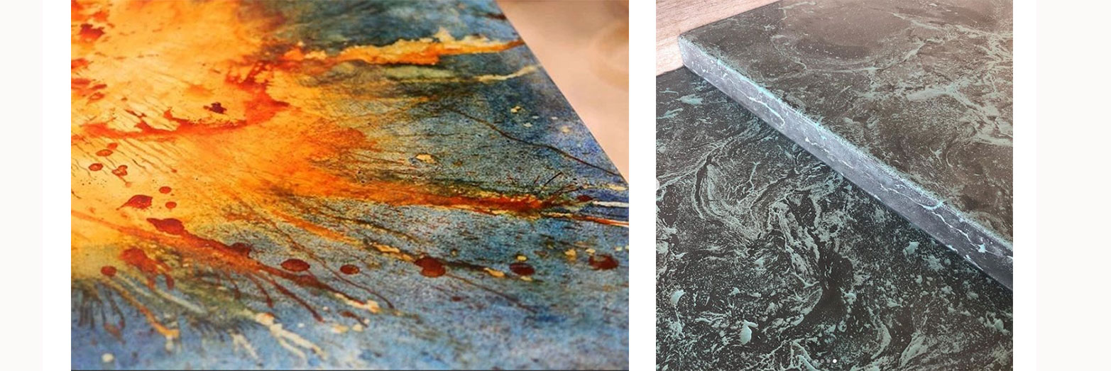 Custom artistic finishes on concrete by Elements Concrete Co.