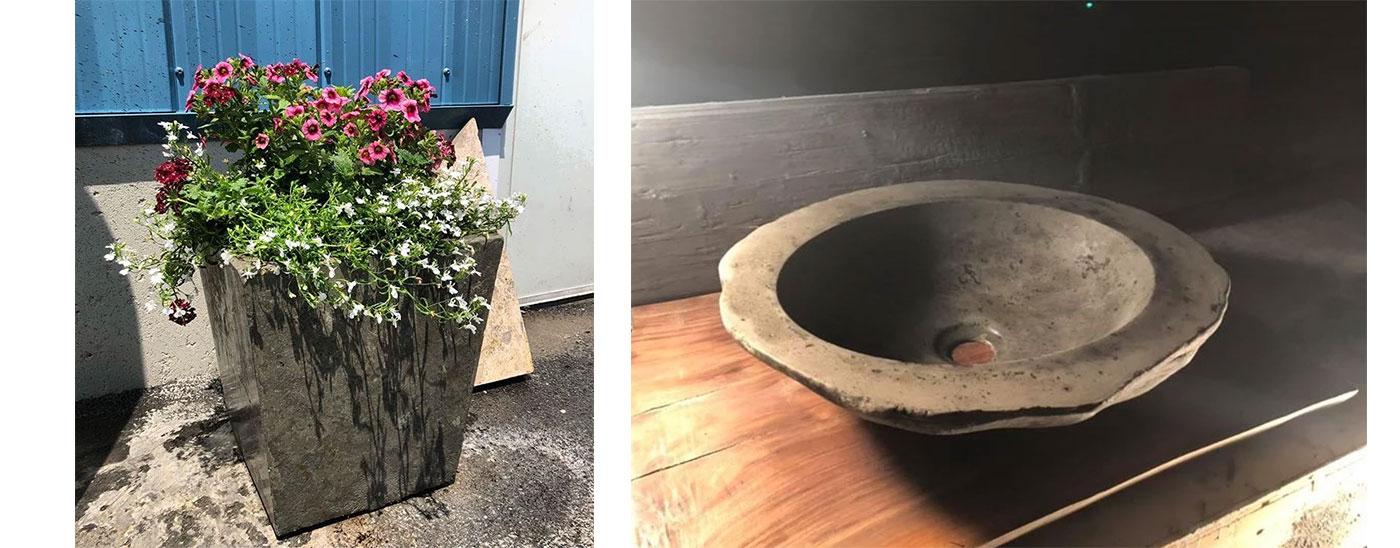 Concrete planter and vessel by Elements Concrete Co.