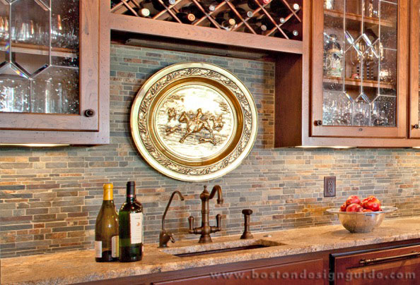 Small South Boston Kitchen: Honed Stone Tiles Set On The Diagonal With  Polished Pistachio Marble Accents Both Interspersed And As A Small Mosaic  Horizontal ...