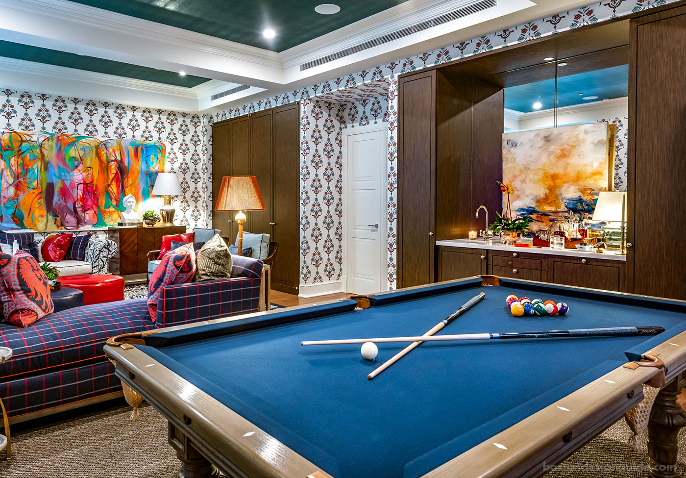 Colorful NYC living room and game room design by Eric Haydel Design