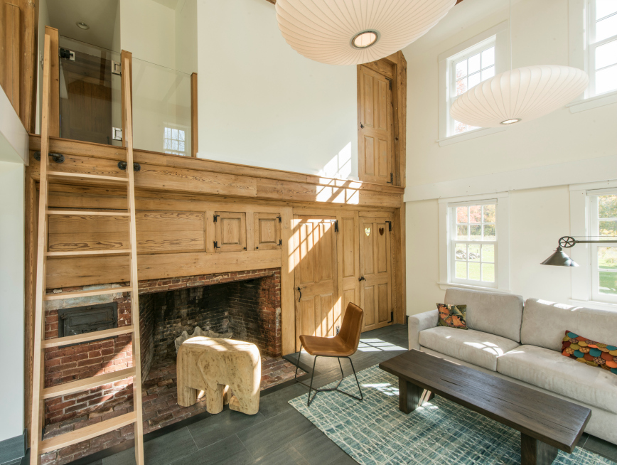 Original fireplace in a renovation by Merz Construction