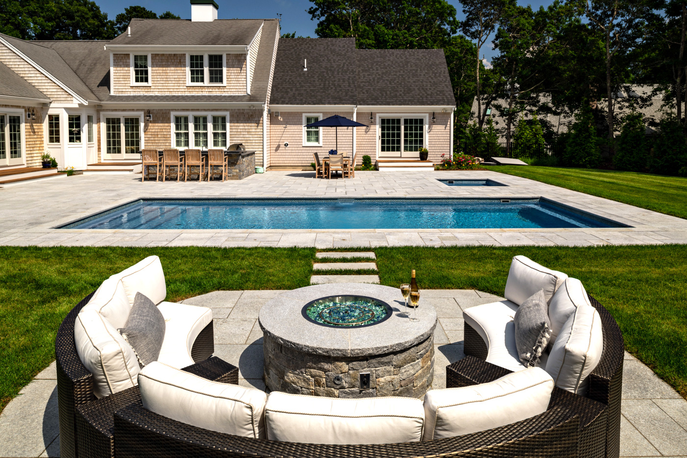 Pool and outdoor lounge area created by McPhee associates