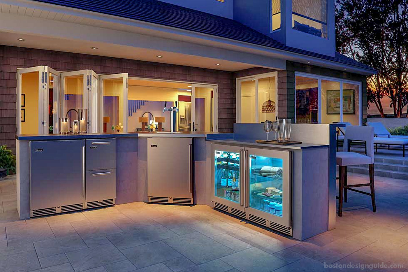 Outdoor kitchen and bar with appliances from Ferguson Bath, Kitchen and Lighting Gallery