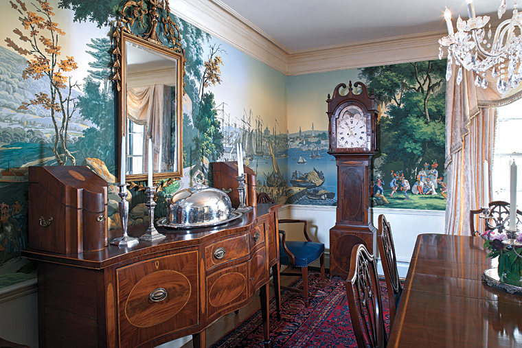 Finishing touch professional paperhanging for Colonial mural wallpaper
