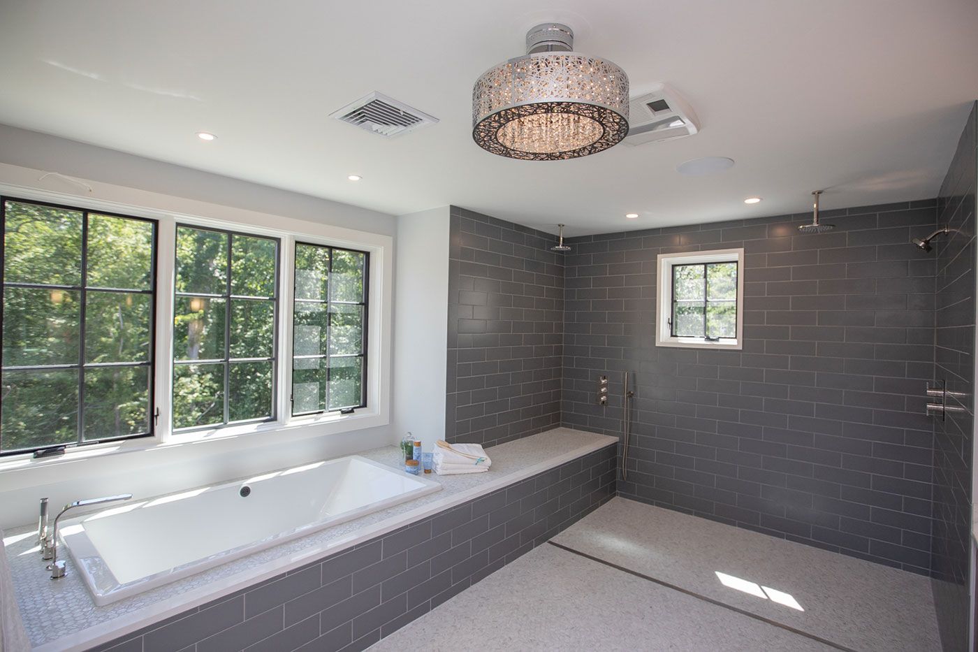 Master bathroom of a specially adapted smart home, constructed through the R.I.S.E. program of the Gary Sinise Foundation