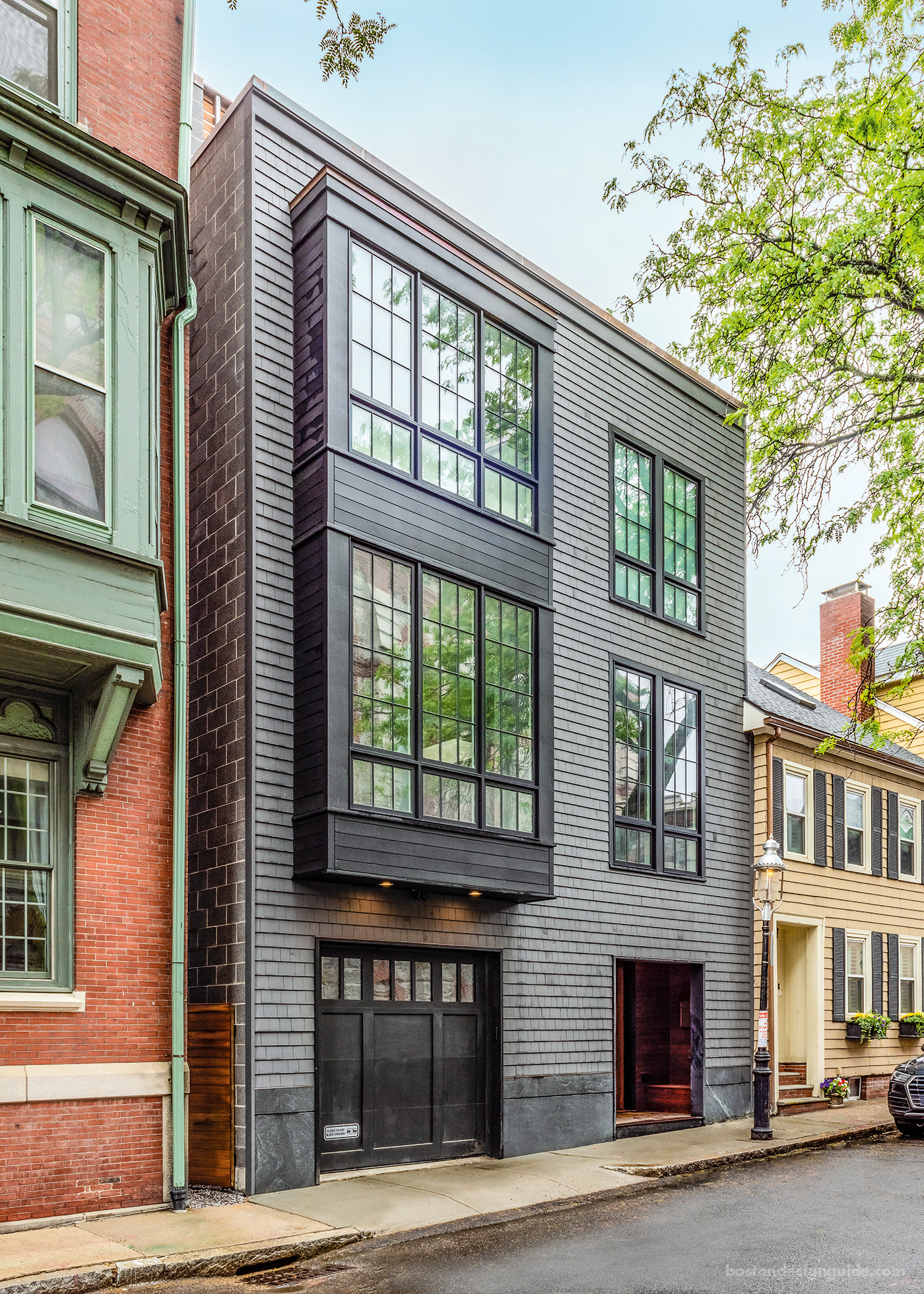 An upscale three-level Boston row house constructed by Columbia Contracting Corp.