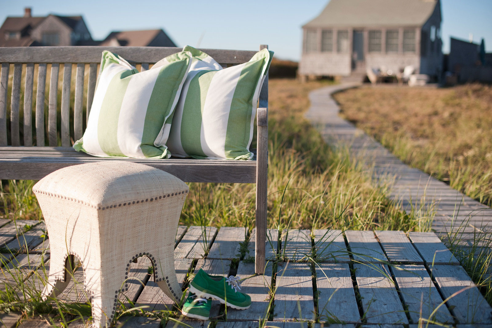 Striped outdoor pillows at Nantucket Looms