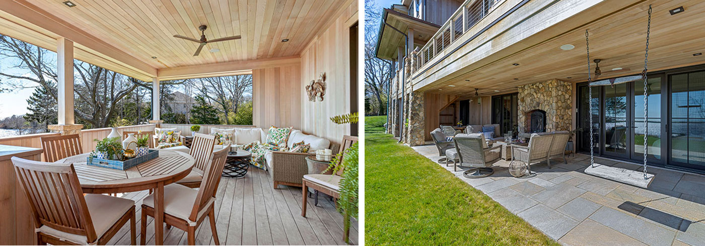 Lower and upper porches in a year-round oceanfront home designed by Gakidis + Stewart Design Group
