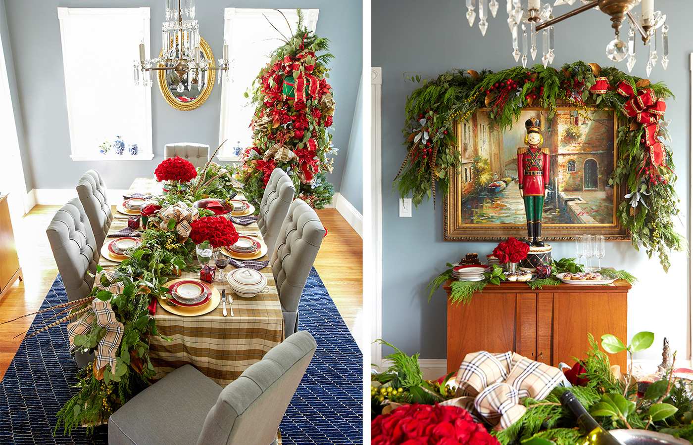 Holiday table setting and buffet decorated with greenery