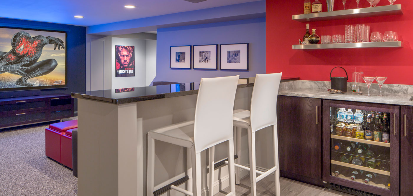 High-end media space and lounge designed by Interiology Design Co.