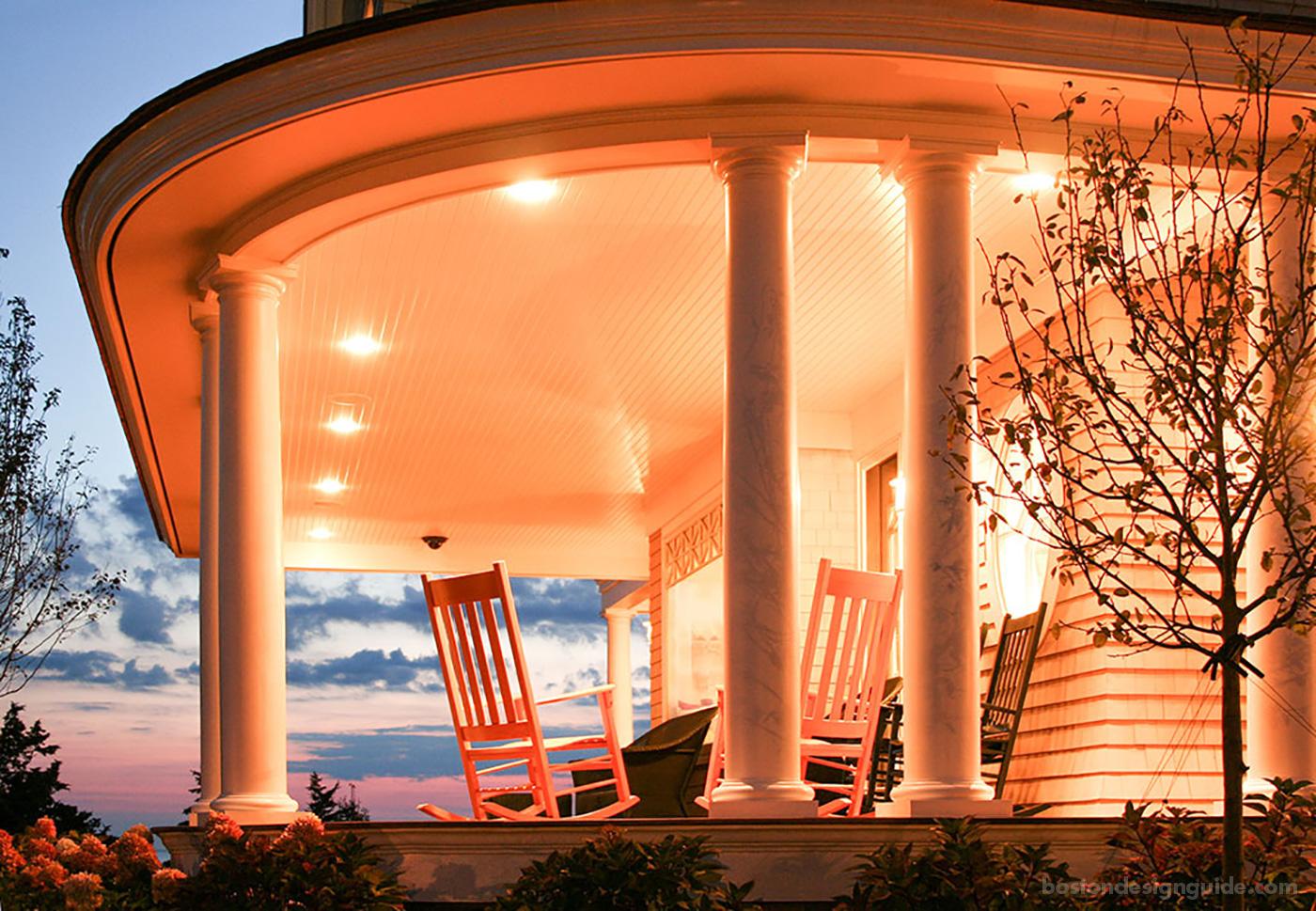 Cape cod veranda at sunset